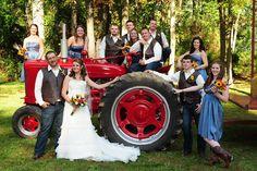 Farm Wedding: Tractor Wedding Party