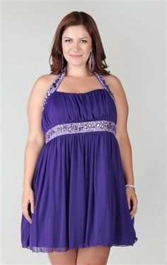 plus size halter dress with keyhole front and stone trim