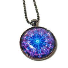 Mandala Pendant, Chakra Necklace in  Vibrant Purple, Blue, New Age Jewelry