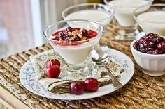 Buttermilk Panna Cotta with Cherry Compote from Full Fork Ahead.