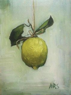 lemon on a string 18x24 cm oil