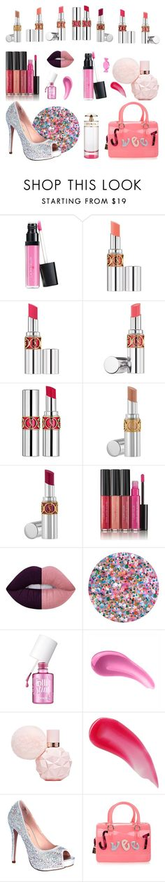 """Candy lips"" by pandalover456 ❤ liked on Polyvore featuring beauty, Laura Geller, Yves Saint Laurent, Lime Crime, Deborah Lippmann, Benefit, Charlotte Tilbury, Lauren Lorraine, Furla and Kate Spade"