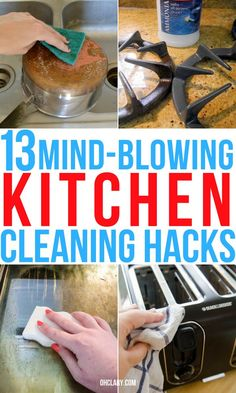 These kitchen cleaning hacks for cabinet doors, floors, grease stains, appliances and sink are so useful! Now i can clean my stainless steel appliances and microwave with ease with these easy lazy girl kitchen cleaning tips. Microwave Cleaning Hack, Cleaning Grease, Kitchen Cleaning, Cleaning Tips, Clean Stove Burners, Clean Stove Top, Baking Soda Beauty Uses, Baking Soda Uses, All You Need Is