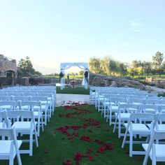 Wedding ceremony by the waterfall - Bellatrix Restaurant & Classic Club golf course - Palm Desert, CA