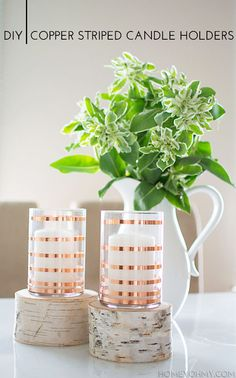 DIY Copper Striped Candle Holders - Homey Oh My!