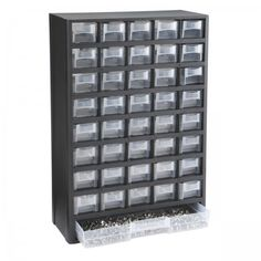 Keep parts, fasteners or other hardware close at hand with this durable, high-impact storage bin organizer. The organizer contains 40 small storage bins and one full length drawer for larger tools and parts. Transparent windows for easy identification. Large Storage Bins, Bead Storage, Craft Room Storage, Tool Storage, Storage Organizers, Craft Rooms, Hardware Organizer, Jewelry Organizer Drawer, Storage Ideas