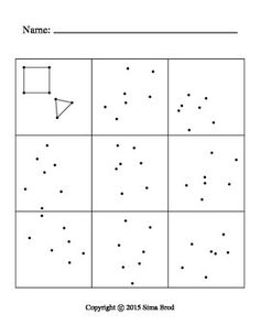 First cell of the table displays two geometric shapes. Rest of the cells contain just vertices of this shapes, but shifted and rotated. Students to identify points of original shape and draw them.