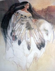 "Relatives, sharing. Wbcw Tdm, elder crystal child, alightfromwithin.org, Rainbow Warriors of Prophecy. Image carried this saying, ""White Buffalo Calf Woman. Painting by Pamela McCabe."""