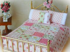 Dollhouse Miniature Scale Quilt Krystyna  by TheLittleQuiltShoppe