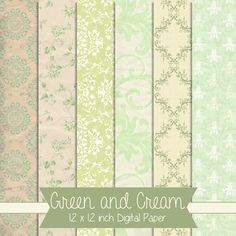 Green and Cream Vintage Style 12 x 12 by CuriousCrowDigital, $4.00