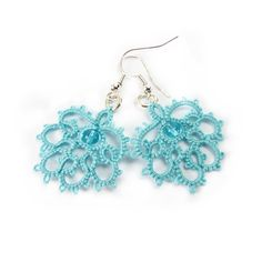 Turquoise lace earrings  lace jewelry Winter fashion. £19.00, via Etsy.