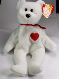 Ty Valentino Beanie Baby RARE w/ some Errors Dates Nose Red Star Retired #Ty