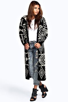 Bella Hooded Aztec Long Cardigan is on sale now for - 25 % !  Love the shoes!!!!!