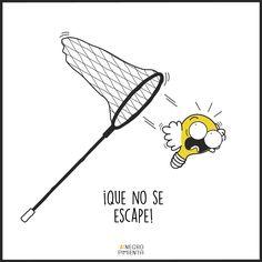 ¡Que no se te escape! ¡Puede acabar llevándote a algún sitio maravilloso! 💡💡 #negropimienta #ilustracion #diseño #creatividad #idea #sueño #bombilla #sueños #buenaidea #valiente #inspiracion #humor #dibujo #vector #ideas #tiendaonline #illustration #design