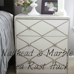 The Abundant Abode: Sunday in Suburbia: Nailhead & Marble Ikea Rast Hack http://theabundantabode.blogspot.com/2012/09/sunday-in-suburbia-nailhead-marble-ikea.html#
