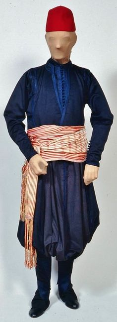 Man's costume, with suit, sash, and fez.  Late-Ottoman era, in the style of the Aegean Islands, ca. 1835. Made for John Lowell, Jr. in Turkey while on his world tour.  (Museum of Fine Arts, Boston)