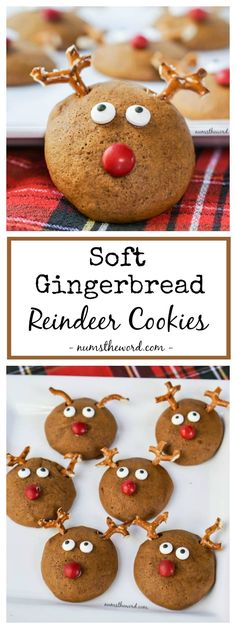 Soft Gingerbread Reindeer Cookies are fun, delicious and kid approved. Be a kid and play with your food again with these Fluffy Gingerbread cookies! by constance Gingerbread Reindeer, Reindeer Cookies, Holiday Cookies, Holiday Treats, Holiday Recipes, Gingerbread Houses, Christmas Sweets, Christmas Cooking, Simple Christmas