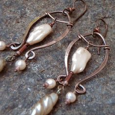 Mermaid's Harp Dangle Copper and Peach Pearl by melissamanley, $40.00