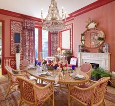Kips Bay Showhouse Mark D Sikes. Note how painting of trim complements patterns and also defines and encloses them, and makes this wonderful mix of patterns very elegant and refined. Red Rooms, White Rooms, Interior Design Books, Book Design, Kips Bay Showhouse, Mark Sikes, Porch Addition, Beautiful Dining Rooms, Elements Of Style