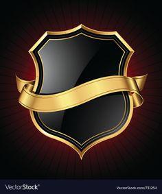 Black and gold shield and ribbon Royalty Free Vector Image Tank Masters, Justice Logo, Ninja Logo, Knight Logo, Graffiti Wallpaper, Star Images, Luxury Logo, Badge Logo, Instagram Logo
