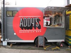 Addy's serves French-inspired baguette sandwiches with awesome ingredients, to a hip-hop and disco soundtrack. Baguette Sandwich, Sandwich Bar, Sandwich Shops, Sandwiches, Outdoor Cinema, Food Truck, Portland, Bar Food, Food Carts