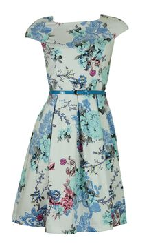 White Blue Oriental Floral Print 50's Style Dress