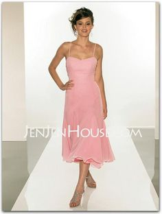 Bridesmaid Dresses - $84.99 - A-Line/Princess Sweetheart Tea-Length Chiffon Bridesmaid Dresses With Ruffle (007001842) http://jenjenhouse.com/A-line-Princess-Sweetheart-Tea-length-Chiffon-Bridesmaid-Dresses-With-Ruffle-007001842-g1842