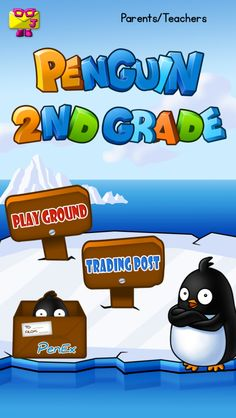 """Penguin Second Grade"" iPad game has a Playground to slide penguins to correct answer igloos, a Trading Post for fun costumes, & PenEX sticker-art! https://itunes.apple.com/us/app/penguin-second-grade-math/id732049976?mt=8"