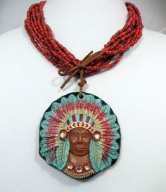 Cowgirl Bling American Indian Native Tribal Headdress Warrior Gypsy necklace #BEADEDwithpendant