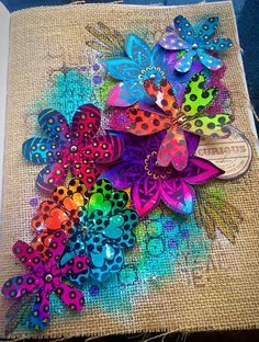 Tracy Scott's Art - Playing in my new Dina Wakley media journal - art journal page with Dylusions stamps and Paperartsy paints.