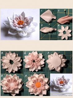 How to make elegant organza kanzashi flower with dangles usefuldiy comThis Pin was discovered by TsvA beautiful idea I have yet to try, would definitely like to incorporate this in one of my creations. Satin Ribbon Flowers, Cloth Flowers, Ribbon Art, Diy Ribbon, Ribbon Crafts, Flower Crafts, Diy Flowers, Fabric Flowers, Fabric Crafts