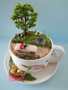If you are looking for Diy Summer Garden Teacup Fairy Garden Ideas, You come to the right place. Here are the Diy Summer Garden Teacup Fairy Ga. Mini Jardin Zen, Teacup Crafts, Mini Fairy Garden, Fairy Gardening, Succulent Gardening, Gardening Hacks, Indoor Gardening, Organic Gardening, Garden Terrarium