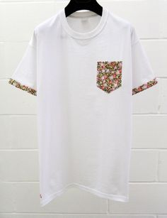 Men's Pink and Black Floral Pattern White Pocket by HeartLabelTees, £13.99