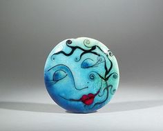 Moon Series  Lampwork  lentil shape focal bead42mm by AstridRiedel