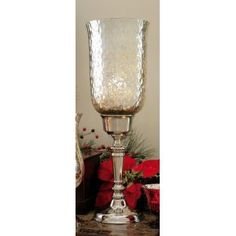 Silver Mercury Glass Footed Hurricane