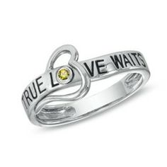 """True Love Waits"" Heart Ring in Sterling Silver November Citrine"