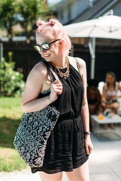 Celebrating pool party style with diverse ladies of all shapes and sizes. This look features a romper and wedges from Target. Click through for more details on this look and to see the rest of the Diversity Chic ladies pool party outfits.
