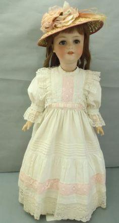 Fabulous-Ernst-Heubach-Antique-large-bisque-head-doll-amp-antique-dress