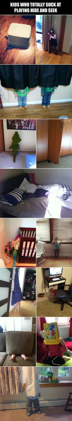 Kids who totally stink at playing hide and seek...HILARIOUS!!!