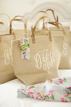 Rosemary Beach Wedding Bridesmaids Gift Idea Robe Burlap Monogrammed Bag Bridesmaid Robes By Etsy