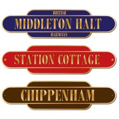 Brass Effect Vintage Style Railway Totem Sign.