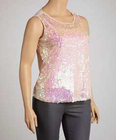 Take a look at this Peach Sequin Sleeveless Top - Plus by Illa Illa on #zulily today!