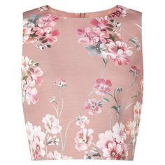 Pink Floral Shell Top (1.047.840 IDR) ❤ liked on Polyvore featuring tops, crop top, floral tops, shell crop top, shell tops, cropped tops and pink crop top