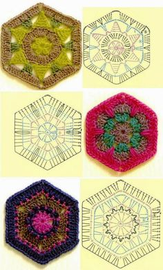 Tejido Facil: Patrón: 3 pastillas hexagonales preciosas