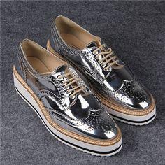 3de6baaacfc4 2015 Fashion Street Style Shiny Silver Closed Toe Lace Up Women s Metallic  Oxfords Low Heel Sneakers