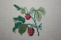 Himbeere+Kreuzstich+Leinen+Bild+Obst+Früchte+von+Steffis+Kreuzstich+auf+DaWanda.com