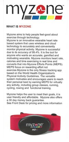6aa07032d3d44 Some information about the MYZONE Belts that we use at the gym. Fitness  Facilities