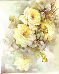 artist sonie ames pictures of her painting | YELLOW ROSES~STUDY~SONIE AMES~VINTAGE 1964 (Image1)