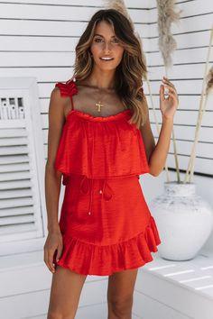 d153605e077 Calbira Dress Red Gladiator Heels