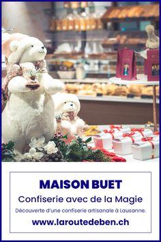 Avec deux adresses à Lausanne, Maison Buet propose un assoriment de chocolat et de pâtiserie faite maison. #chocolat #suisse #lausanne #confiserie Lausanne, Teddy Bear, Outdoor Decor, Swiss Chocolate, Small Bakery, Chocolate Factory, Homemade, Fine Dining, Teddy Bears